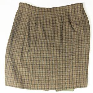 Vintage Plaid School girl skirt plus size green